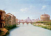 Christoffer-Wilhelm Eckersberg - View of the Ponte and Castel Sant'Angelo in Rome