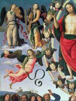 Pietro Perugino - Detail of The Ascension of Christ, detail of Christ and musician angels, upper right section, 1495-98