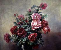French School - A Bowl of Red and Pink Roses
