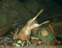 Hieronymus Galle The Elder - Still Life of a Hare with Hunting Equipment