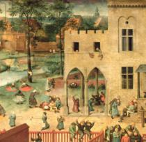 Pieter Brueghel der Ältere - Detail of Children's Games : detail of top left-hand corner showing children spinning tops and playing bowls, 1560