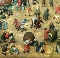 Pieter Brueghel der Ältere - Children's Games : detail of bottom section showing various games, 1560  (detail of 68945)