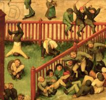 Pieter Brueghel der Ältere - Detail of Children's Games : detail of left-hand section showing children running the gauntlet, doing gymnastics and balancing o