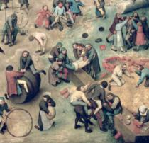 Pieter Brueghel der Ältere - Children's Games : detail of bottom right-hand corner depicting children playing with bricks, hoops and a barrel, 1560  (detail