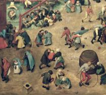 Pieter Brueghel der Ältere - Children's Games : detail of left-hand section showing children bowling hoops, doing handstands, playing with a hobby-horse and