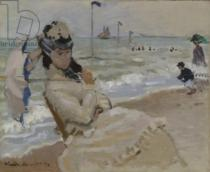 Claude Monet - Camille on the Beach in Trouville, 1870