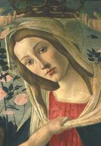 Sandro Botticelli - Madonna and Child Crowned by Angels, detail of the Madonna