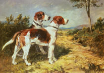John Emms - Two Hounds in a Landscape