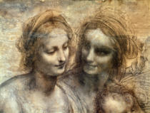 Leonardo da Vinci - The Virgin and Child with SS. Anne and John the Baptist, detail of heads of the Virgin and St. Anne, c.1499