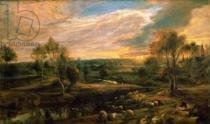 Peter Paul Rubens - A Landscape with a Shepherd and his Flock, c.1638