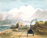 Andrew Nicholl - Dublin and Kingstown Railway: From the Footbridge at Sea Point Hotel, Looking Towards Salt Hill, Kingstown Harbour in the Distan