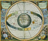 Andreas Cellarius - Map Showing Tycho Brahe's System of Planetary Orbits Around the Earth, from 'The Celestial Atlas, or The Harmony of the Universe