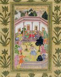 Mughal School - Disturbance by a madman at a social gathering, from the Small Clive Album