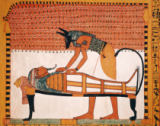 Anubis attends Sennedjem's Mummy, from the Tomb of Sennedjem, The Workers' Village, New Kingdom of 19th Dynasty Egyptian