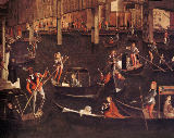 Vittore Carpaccio - Gondoliers on the Grand Canal, detail from The Miracle of the Relic of the True Cross on the Rialto Bridge, 1494  (detail of 119