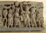 Pakistani School - Relief depicting the birth of the Future Buddha, Greco-Buddhist style