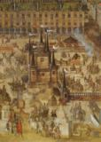 French School - Detail of The Place Royale and the Carrousel in 1612, detail of the Palais de la Felicite and the chariots