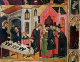 Arnau Bassa - The Altarpiece of SS. Mark and Ania, detail of a shoemender's stall, Catalan School, 1346