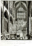 View of the Orchestra and Performers in Westminster Abbey, during the Commemoration of Handel, published by Charles Burney, 1785 von Edward Francis Burney