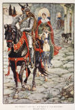 Walter Crane - Sir Geraint and the Lady Enid in the Deserted Roman Town, from 'Stories of the Knights of the Round Table' by Henry Gilbert, fir