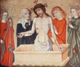 German School - Christ at the sepulchre, supported by his Mother and Saint John