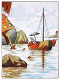 English School - Robinson Crusoe rescuing a dog from a Spanish shipwreck, illustration from 'The Story of Robinson Crusoe: An adaptation for chil