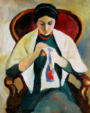 August Macke - Woman Sewing