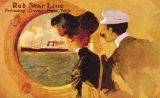 English School - Poster advertising the 'Red Star Line' from Antwerp to New York via Dover