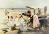 Alexander Mark Rossi - On the Shores of Bognor Regis - Portrait Group of the Harford Couple and their Children, 1887