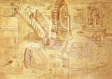 Leonardo da Vinci - Facsimile of Codex Atlanticus f.386r Archimedes Screws and Water Wheels (original copy in the Biblioteca Ambosiana, Milan, 1503/