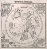 Albrecht Dürer or Duerer - Map of the Southern Sky, with representations of constellations, decorated with the crest of Cardinal Lang von Wellenburg, and a
