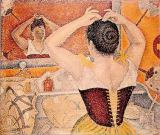 Paul Signac - Woman at her toilette wearing a purple corset, 1893