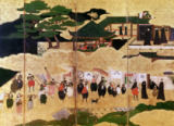 Japanese School - The Arrival of the Portuguese in Japan, detail of the right-hand section of a folding screen, Kano School