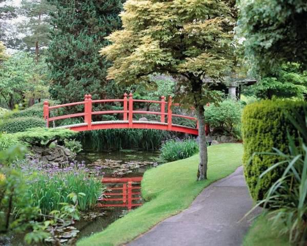 Prisma Rote Brücke Gartenweg Japanischer Garten Kunstdruck