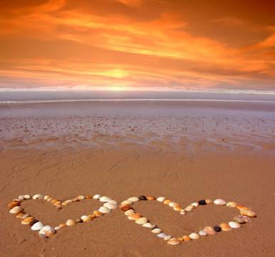 hajo: strand meer urlaub liebe herz herzen symbol kunstdruck, glasbild