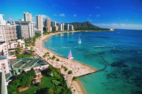 tiofoto: am strand, urlaub machen, ausleger, honolulu