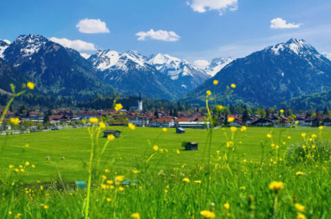 Foto-Kunstdruck: parasola (F1 Online), View onto Oberstdorf and Allgaeuer Hauptkamm, Bavaria, Germany, Europe