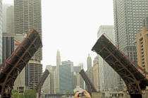 First Light (F1 Online) - Camera photographing raised bridges along Chicago River, Chicago, Illinois