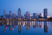 First Light (F1 Online) - Montreal skyline reflected in the Lachine Canal at dawn, Quebec, Canada