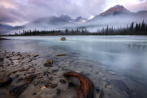 First Light (F1 Online) - A foggy, early morning on the Sunwapta River in Jasper National Park, Alberta