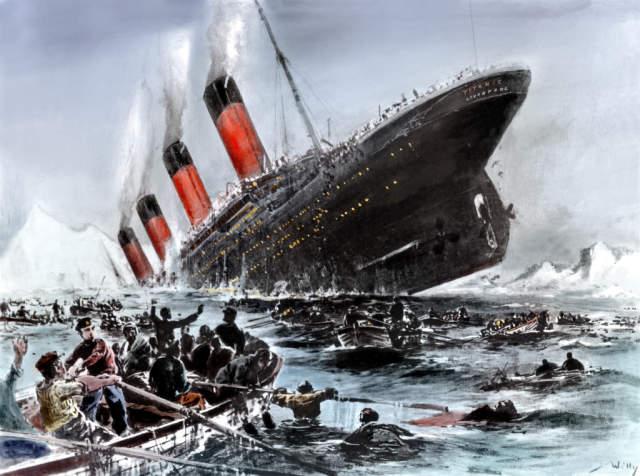 Willy Stöwer: Der Untergang der Titanic. Kunstdruck, Leinwandbild, Glasbild