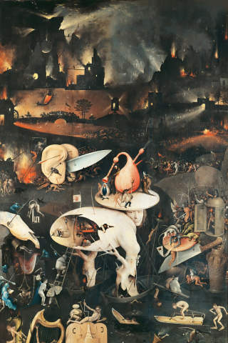Fine Art Reproduction The Garden of Earthly Delights, Hell, right wing of  triptych, detail by Hieronymus Bosch on Kunstdruckpapier