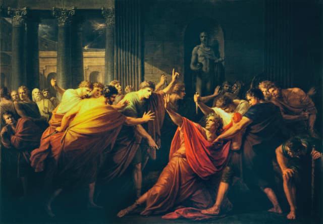 Füger: Die Ermordung Julius Cäsars. Kunstdruck, Leinwandbild, Gerahmtes Bild