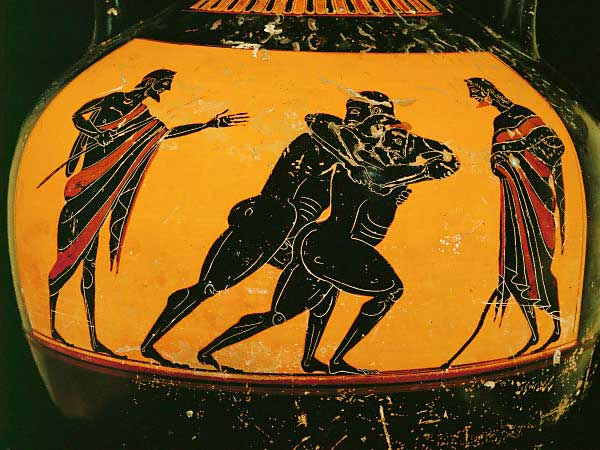 Vasenmalerei Two Wrestlers Greek Vase Painting Art Print Framed