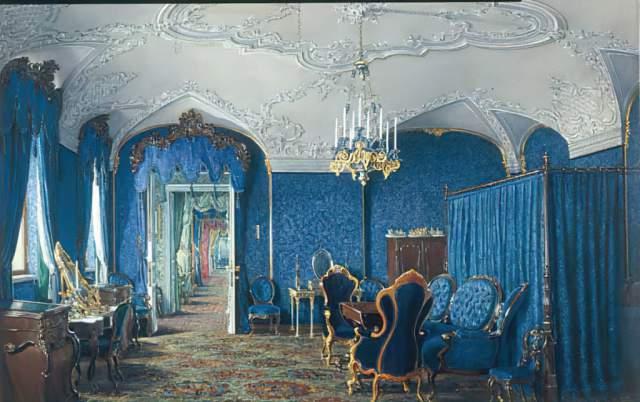 Eduard Petrowitsch Hau - Gatschina, Schloß, Schlafzimmer/ E.P.Hau