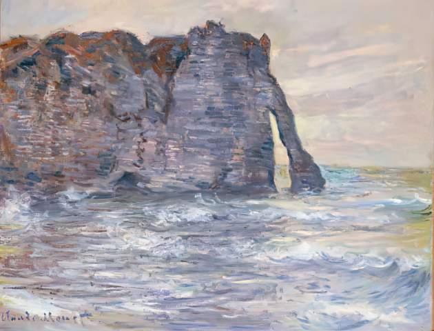 Claude Monet: Etretat, Falaise et Porte D'Aval. Art Print, Canvas on  Stretcher