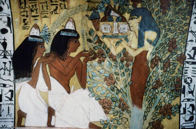 Digitaler Kunstdruck, Individuelle Kunstkarte: Ägyptische Malerei, Göttin  Isis/Grab D.Sennedjem