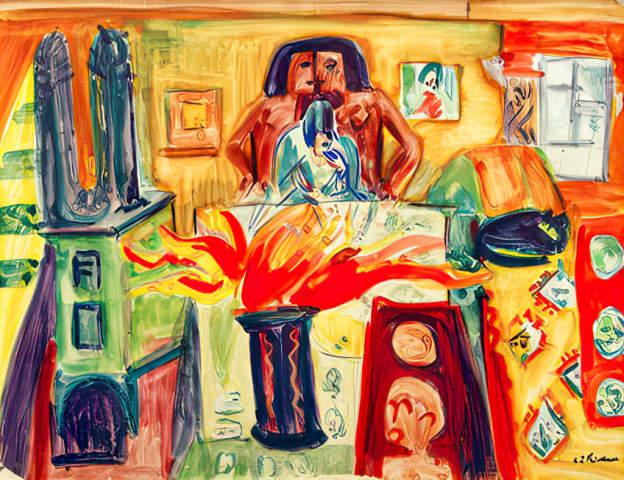 Kirchner: interieur mit tulpen. kunstdruck leinwandbild gerahmtes bild