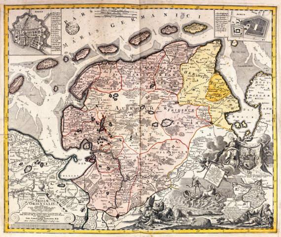 Akg Anonymous Landkarte Von Ostfriesland 1730 Art Print Canvas