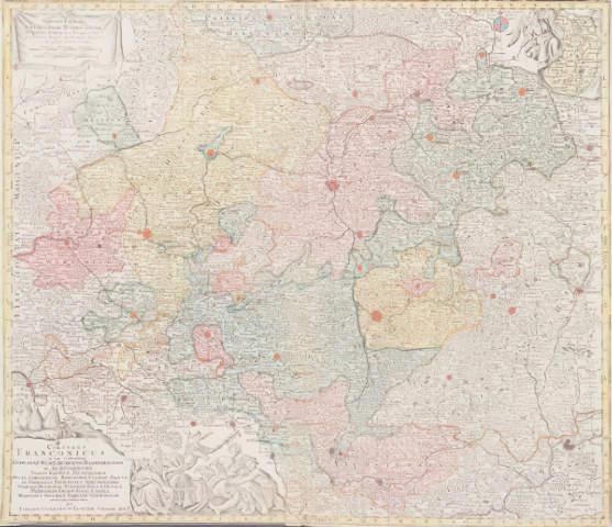 Lotter Landkarte Von Franken Art Print Canvas On Stretcher